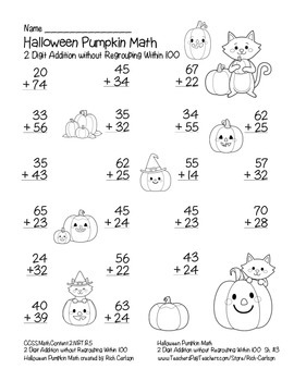 """Halloween Pumpkin Math"" 2 Digit Addition Without Regrouping! (color& blackline)"