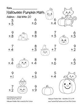 """Halloween Pumpkin Math"" Add Within 20 - FUN! (black line & color)"