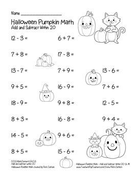 """Halloween Pumpkin Math"" Addition & Subtraction Within 20 - FUN! (black line)"