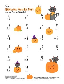 """""""Halloween Pumpkin Math"""" Addition & Subtraction Within 20 - FUN! (color)"""
