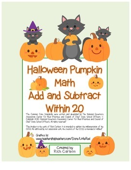 """Halloween Pumpkin Math"" Addition & Subtraction Within 20! (color & black line)"