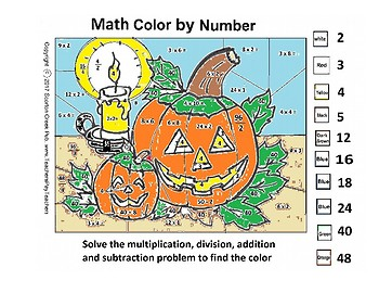 Halloween Math Color by Number
