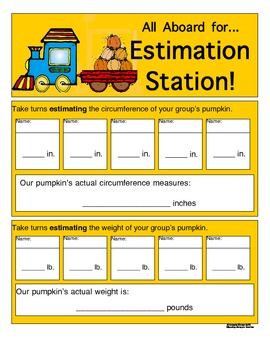 Halloween Pumpkin Math Estimation Station