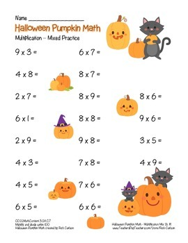 """Halloween Pumpkin Math"" Mixed Multiplication -Common Core! (black line & color)"