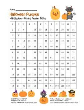 """Halloween Pumpkin Math"" Multiplication Fill Ins – Easy! (black line & color)"