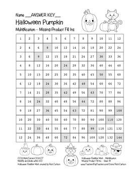 """Halloween Pumpkin Math"" Multiplication Fill Ins – Easy - FUN! (black line)"