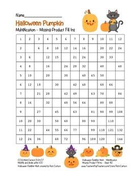 """Halloween Pumpkin Math"" Multiplication Fill Ins –Hard -FUN! (blackline & color)"