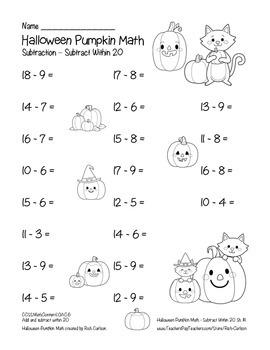 """Halloween Pumpkin Math"" Subtract Within 20 - Common Core - FUN! (black line)"
