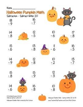 """Halloween Pumpkin Math"" Subtract Within 20 - FUN! (color)"