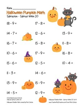 """Halloween Pumpkin Math"" Subtract Within 20 - Common Core! (blackline & color)"