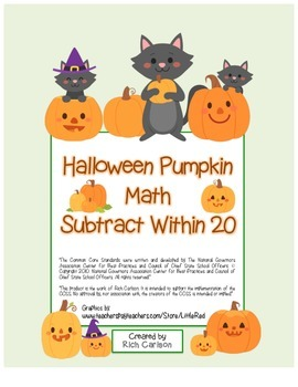 """Halloween Pumpkin Math"" Subtract Within 20 - Common Core! (blackline & color)"