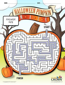 Halloween Maze - Pumpkin Maze - B&W Print Ready