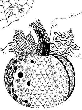 Halloween Pumpkin Mindfulness Zentangle Coloring Sheet By Kriopie Design