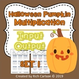 Halloween Pumpkin Multiplication Input Output Set 1! Halloween FUN! (Black Line)