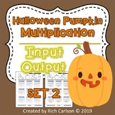 Halloween Pumpkin Multiplication Input Output Set 2! Halloween FUN! (Black Line)
