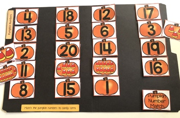 Halloween Pumpkin Number Matching File Folder Activity