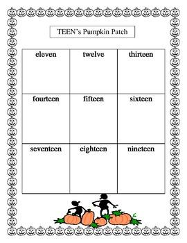 Halloween Pumpkin Number Words