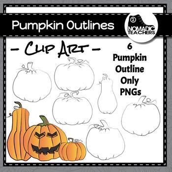 Halloween Pumpkin Outlines - 6 Blackline Pumpkins Clipart