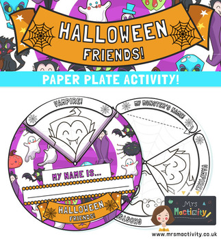 Halloween Pumpkin Paper Plate Craft Template