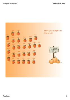 Halloween Pumpkin Patch Attendance for Smartboard