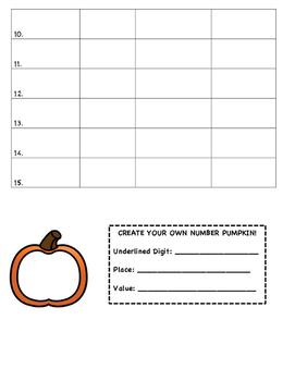Halloween Pumpkin Place Value