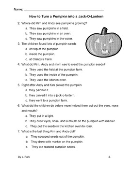 Halloween Pumpkin Story w/ 7 Multiple Choice Reading Comprehension Qs