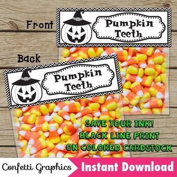 Halloween Pumpkin Teeth Treat Bag Topper Black Line Candy Corn Ziplock Save Ink