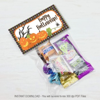 Halloween Pumpkin Treat Bag Toppers, Halloween Party Favors, Candy Bag Topper