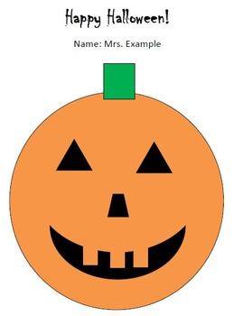 Halloween Pumpkin Version 1 Technology Lesson Plan & Materials