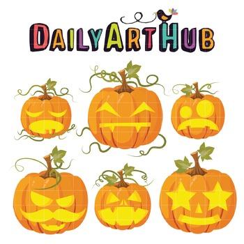 Halloween Pumpkins Clip Art - Great for Art Class Projects!
