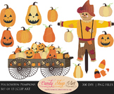 Halloween Pumpkins Clipart, Pumpkin Wagon, Scarecrow Clip