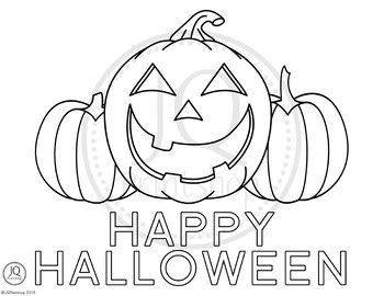 Halloween Pumpkins Coloring Page - Happy Halloween Color Sheet