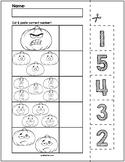 Halloween Pumpkins Cut & Match Worksheets   Numbers 1-5
