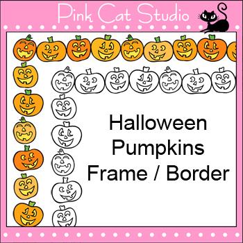 Borders - Halloween Pumpkins Frame / Border Clip Art - Per