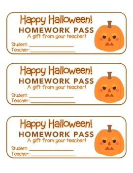 """Halloween""  Pumpkins - Homework Pass – Holiday FUN! (full color version)"