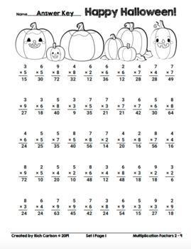Halloween Pumpkins Multiplication!  Halloween Math FUN! (Color and Black Line)