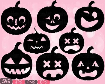 Halloween Pumpkins Trick Or Treat pumpkin face clipart holiday school fall 488S