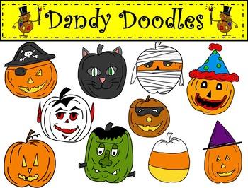 Halloween Pumpkins in Disguise Clip Art by Dandy Doodles