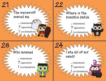Halloween Punctuation Task Cards