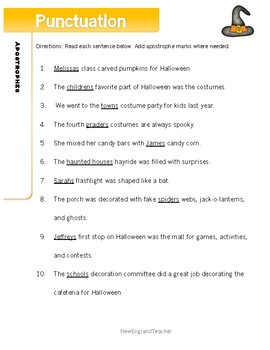 Halloween Punctuation Worksheets: Quotation Marks and Apostrophes