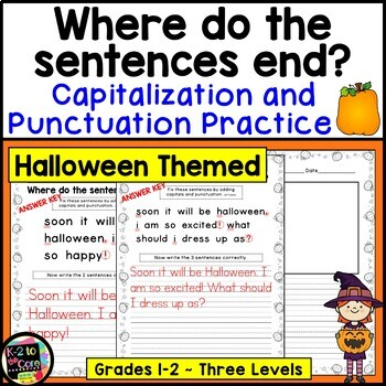 Halloween Punctuation and Capitalization; Where do the sentences end? {NO PREP}