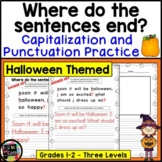 Halloween Writing, Punctuation, and Capitalization; Where do the sentences end?