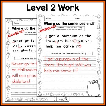 HALLOWEEN WRITING CAPITALIZATION and PUNCTUATION Where do the sentences end?