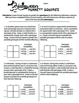 Halloween Punnett Square Activity