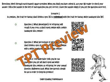 Halloween Punnett Squares QR Genetics Review