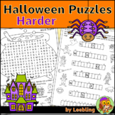 Halloween Puzzle Activities - Harder Version - Crossword, Word Search and More