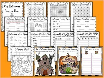 Halloween Puzzle and Activity Pack for Early Finishers