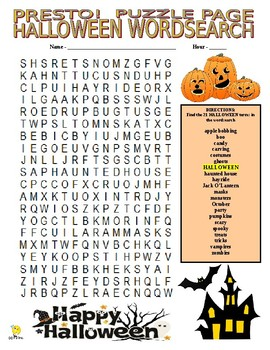 Halloween Puzzle Page (Wordsearch and Criss-Cross)