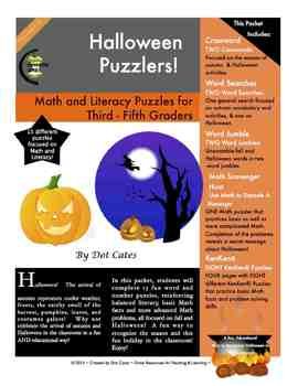 Halloween Puzzlers!  15 Literacy & Common Core Math Puzzle