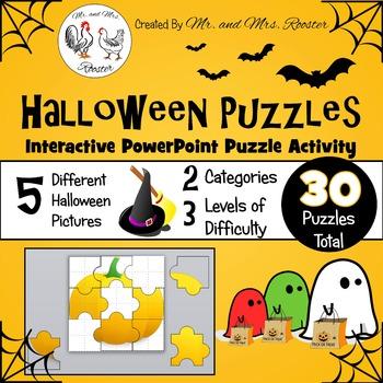 Halloween Puzzles - Interactive PowerPoint Puzzle PK-5 {Te
